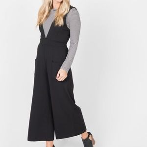 Black Jumpsuit Straight Leg V-Neck